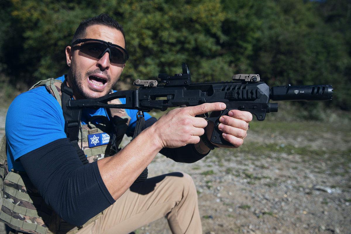 Mattia Miori assistente istruttore tcs tiro operativo israeliano